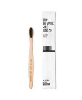 stop the water while using me, bamboo toothbrush, woobamboo, vegan, caries