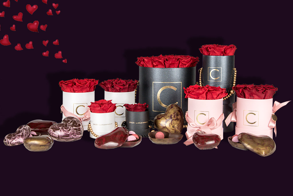 Chloe Flowerbox, Royal red, Infinity Roses, Joulietta Chocolatier, Valentines Day Chocolate Heart