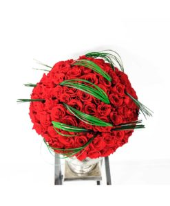 Chloe infinity roses arrangement, flower arrangement, preserved roses, classic red, urn vase