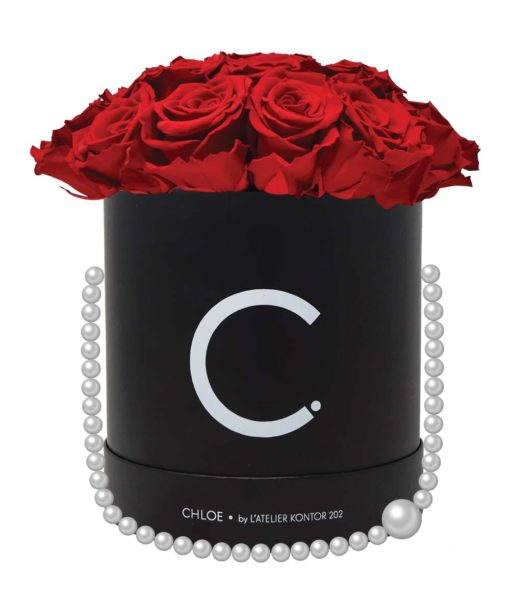 """Chloe Flowerbox, Classic Black, Extra Large Bouquet, Classic Red, preserved """"Infinity"""" Roses"""