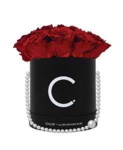 "Chloe Flowerbox, Classic Black, Large Bouquet, Classic Red, preserved ""Infinity"" Roses"
