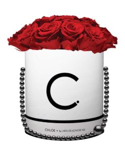 "Chloe Flowerbox, Classic White, Extra Large Bouquet, Classic Red, preserved ""Infinity"" Roses"