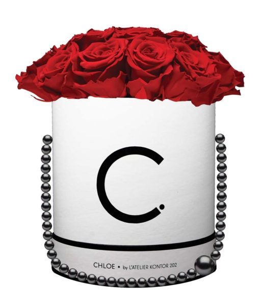 """Chloe Flowerbox, Classic White, Extra Large Bouquet, Classic Red, preserved """"Infinity"""" Roses"""