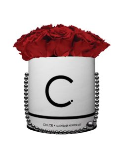 "Chloe Flowerbox, Classic White, Large Bouquet, Classic Red, preserved ""Infinity"" Roses"
