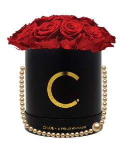 "Chloe Flowerbox, Gold Black, Extra Large Bouquet, Classic Red, preserved ""Infinity"" Roses"