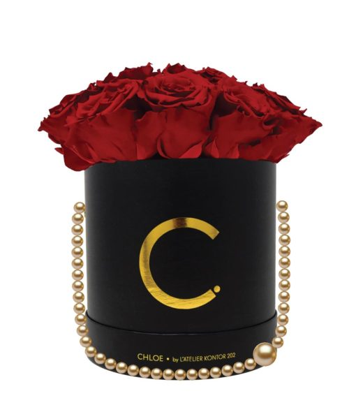 "Chloe Flowerbox, Gold Black, Large Bouquet, Classic Red, preserved ""Infinity"" Roses"