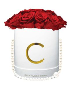 "Chloe Flowerbox, Gold White, Extra Large Bouquet, Classic Red, preserved ""Infinity"" Roses"