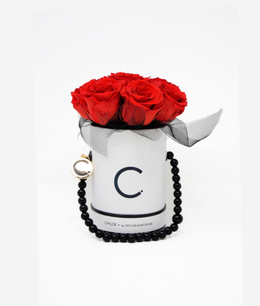 "Chloe Flowerbox, Classic White, Small Bouquet, Classic Red, preserved ""Infinity"" Roses, Tulle Edition"