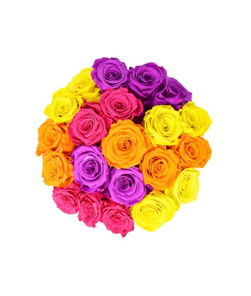 "A vivid bouquet of preserved ""Infinity"" roses - the Chloe Flowerbox"