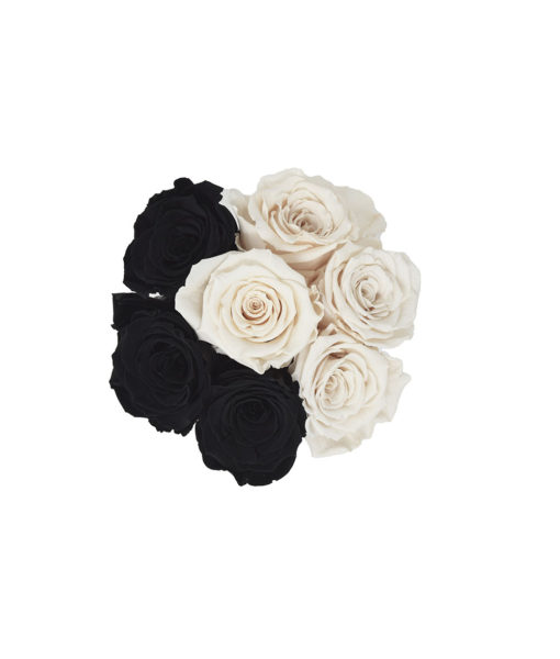 "A black & white bouquet of preserved ""Infinity"" roses - the Chloe Flowerbox"